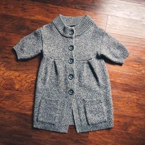 The Limited Short Sleeve Wool Cardigan Small Grey